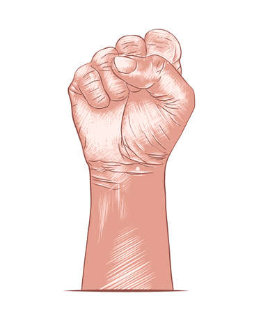 Vector engraved style illustration for posters, decoration,   and print. Hand drawn sketch of human fist in colorful isolated on white background. Detailed vintage woodcut style drawing.