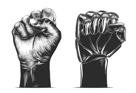 Vector engraved style illustration for posters, decoration and print. Hand drawn sketch of human and robot fist gesture in monochrome isolated on white background. Detailed vintage woodcut drawing.