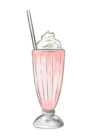 Vector engraved style illustration for posters, decoration, menu, and print. Hand drawn sketch of milkshake in colorful isolated on white background. Detailed vintage woodcut style drawing. Ilustração