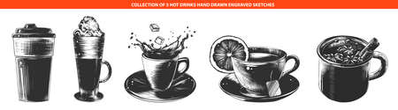 Vector engraved style hot drinks collection for posters, decoration and menu. Hand drawn sketches of monochrome isolated on white background. Detailed vintage woodcut style drawing.