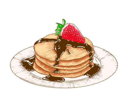 Vector engraved style illustration for posters, menu, decoration and print. Hand drawn sketch of colorful pancakes on the plate isolated on white background. Detailed vintage woodcut style drawing.