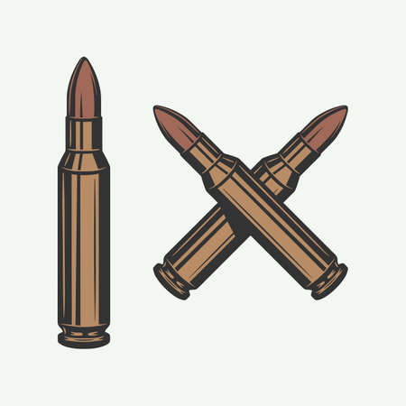 Set of vintage retro bullets. Can be used for  emblem, badge, poster design. Line woodcut style. Color Graphic Art. Vector Illustration.