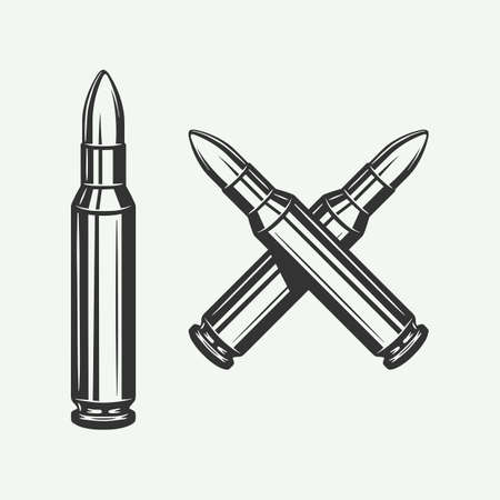 Set of vintage retro bullets. Can be used for  emblem, badge, poster design. Line woodcut style. Monochrome Graphic Art. Vector Illustration.