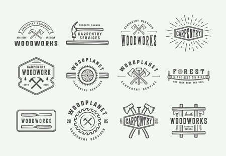 Set of vintage carpentry, woodwork and mechanic labels, badges, emblems . Vector illustration. Monochrome Graphic Art.