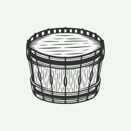 Vintage retro drum in line woodcut style. Hand Drawn style. Line woodcut style. Monochrome Graphic Art. Vector Illustration. Illustration