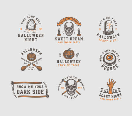Vintage retro halloween emblems, badges, labels, marks, patches. Vector Art. Monochrome Graphic Art. Line woodcut style.