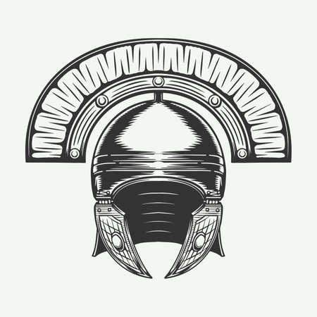 Vintage retro battle roman helmet. Protection armor knight. Vector Illustration. Monochrome Graphic Art. Ilustración de vector