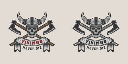 Set of vintage vikings motivational  label, emblem, badge in retro style with quote. Monochrome Graphic Art. Vector Illustration.