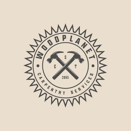 Vintage carpentry, woodwork and mechanic label, badge, emblem  . Vector illustration. Monochrome Graphic Art.