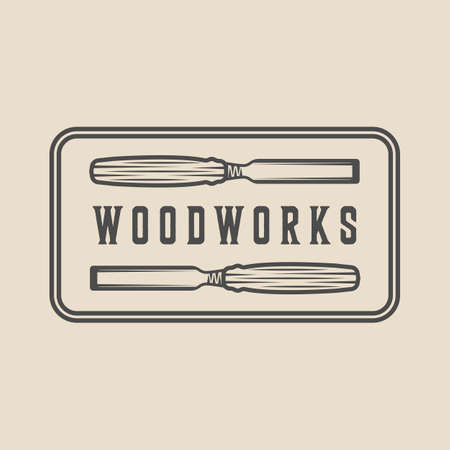 Vintage carpentry, woodwork and mechanic label, badge, emblem  . Vector illustration. Monochrome Graphic Art