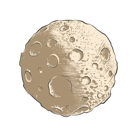 Vector engraved style illustration for posters, decoration. Hand drawn sketch of moon planet with  craters in colorful isolated on white background. Detailed vintage woodcut style drawing.