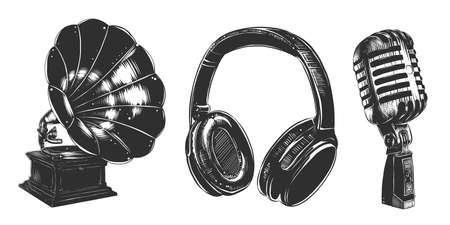 Vektor gravierte Sound-Equipment-Sammlung im Vintage-Stil für Symbole, Dekoration, Emblem. Handgezeichnete Skizzen von Kopfhörern, Grammophon, Mikrofon in Monochrom isoliert auf weißem Hintergrund.