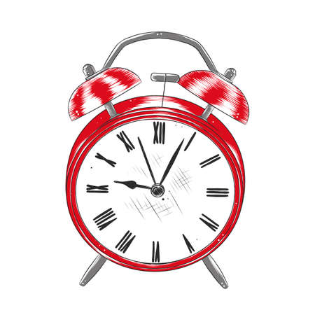 Vector engraved style illustration for posters, decoration . Hand drawn sketch of alarm clock in colorful isolated on white background. Detailed vintage woodcut style drawing.