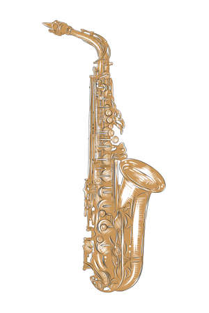 Vector engraved style illustration for posters, decoration and print. Hand drawn sketch of saxophone in colorful isolated on white background. Detailed vintage woodcut style drawing.