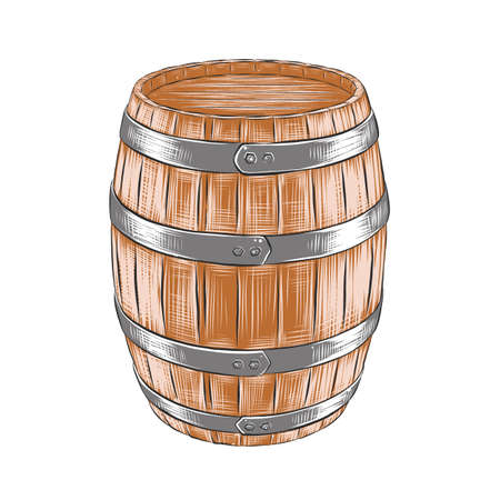 Vector engraved style illustration for posters, decoration and print. Hand drawn sketch of barrel of wine with a splash, colorful isolated on white background. Detailed vintage woodcut style