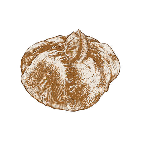 Vector engraved style illustration for posters, decoration, logo and print. Hand drawn sketch of bread loaf in colorful isolated on white background. Detailed vintage woodcut style drawing. 向量圖像