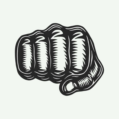 Vintage retro engraved human fist in woodcut style. 矢量图像