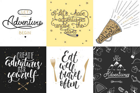 Set of adventure and travel hand drawn unique typography greeting cards, decoration, template, prints, banners and posters. Modern ink brush calligraphy. Handwritten vintage lettering.