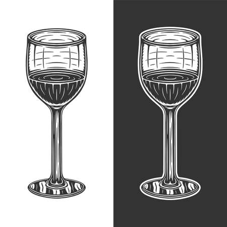 Vintage retro woodcut wine glass. Can be used like emblem, logo, badge, label. mark, poster or print. Monochrome Graphic Art. Vector. 矢量图像