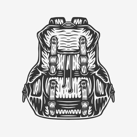 Vintage retro woodcut camping outdoor backpack bag. Can be used like emblem, logo, badge, label. mark, poster or print. Monochrome Graphic Art. Vector.