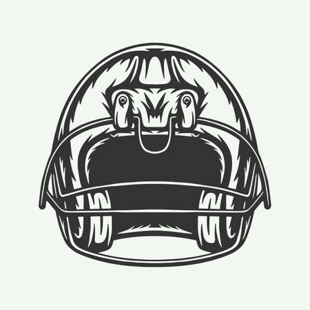 Vintage retro woodcut engraving American football helmet helm protection cap. Can be used like emblem, logo, badge, label. mark, poster or print. Monochrome Graphic Art. Vector.