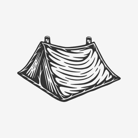 Vintage retro woodcut outdoor camping tent. Can be used like emblem, logo, badge, label. mark, poster or print. Monochrome Graphic Art. Vector.
