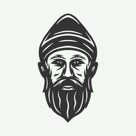 Vintage retro woodcut hunting forest face man. Can be used like emblem, logo, badge, label. mark, poster or print. Monochrome Graphic Art. Vector.