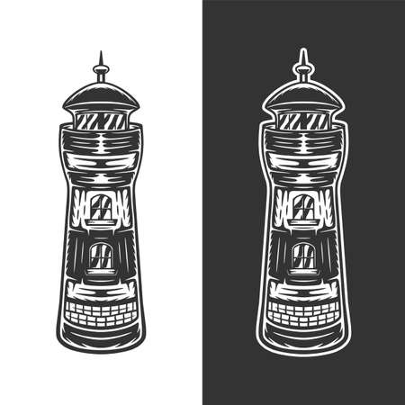 Vintage retro woodcut nautical lighthouse. Can be used like emblem, logo, badge, label. mark, poster or print. Monochrome Graphic Art. Vector.