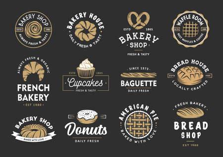 Set of vintage style bakery shop labels, badges, emblems and logo. Vector illustration. Colorful graphic art with engraved design elements. Collection of linear graphic on black background. Logo