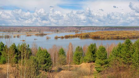 Spring floods on the river in Ryazan region Russia.