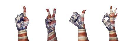 Hands gestures in color flag America
