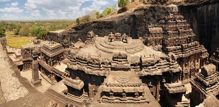 India. Kailas temple in Ellora caves complex carved into the rock.