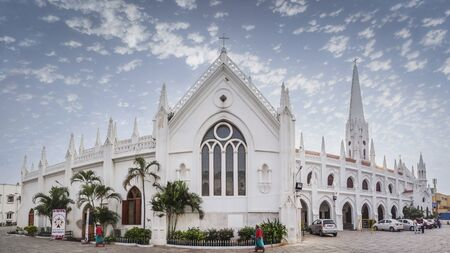 CHENNAI, INDIA - NOVEMBER 18, 2018: San Thome Basilica is a Roman Catholic minor basilica. It was built in the 16th century by Portuguese explorers, over the tomb of St. Thomas, an apostle of Jesus.