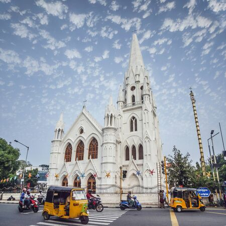 CHENNAI, INDIA - NOVEMBER 18, 2018: San Thome Basilica is a Roman Catholic minor basilica. It was built in the 16th century by Portuguese explorers, over the tomb of St. Thomas, an apostle of Jesus. Redakční