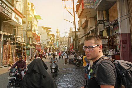 Hyderabad  India - November 19 2017: People walk around the market near Charminar