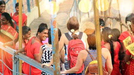 India Tiruchirapalli January 18, 2018 Indian woman gives a smile to foreign tourists