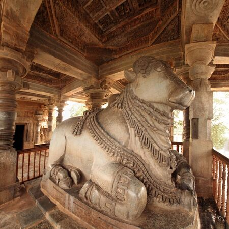 Statue of Nandi Bull in the Hoysaleshwara Hindu temple, Halebid, India