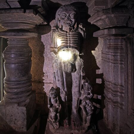 Doddagaddavalli, Karnataka 15 june 2018: Hoysala temples - Lakshmi Devi temple, Skeleton statue
