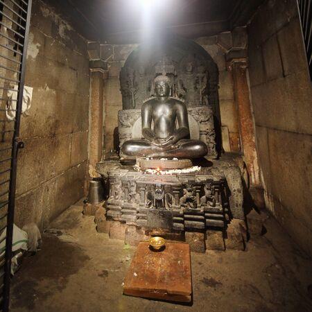 SHRAVANABELAGOLA INDIA 14 june 2018: ALTAR OF THE JAIN TEMPLE IN SHRAVANABELAGOLA CITY