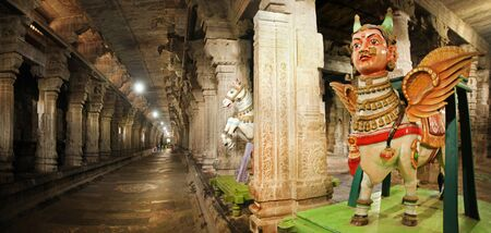 India Kanchipuram temple. Panorama of the colonnade Editorial