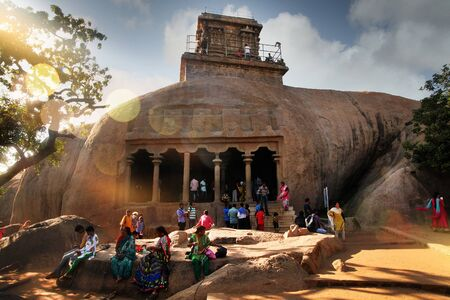 India Mahabalipuram - 2017 31 december: Indians people walk around Tamil Nadu Editorial