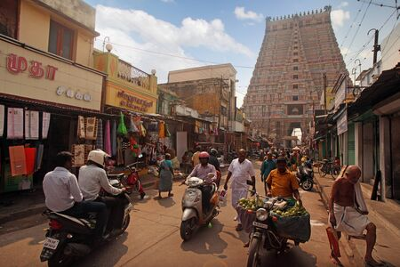 India Tiruchirapalli January 18, 2018 People walk around the gate to the holy temple Editorial