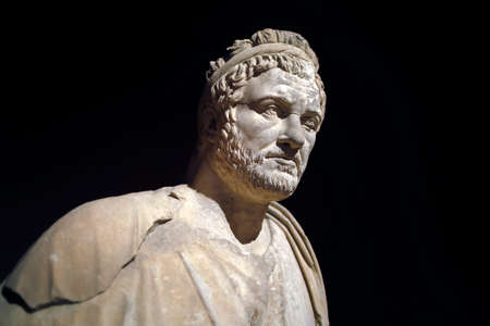 Roman statue of Emperor Priest. Marble. Perge. 2nd century AD. Antalya Turkey.