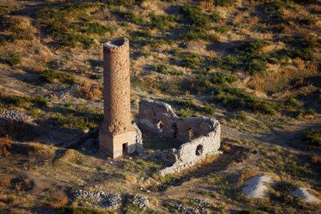 Remains of medieval Osman mosque & its minaret in Old city of Van, near famous Van Fortress, Van, Turkey.