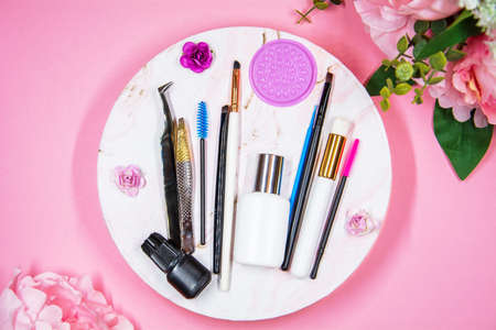Composition of tools for eyelash extensions,copy space