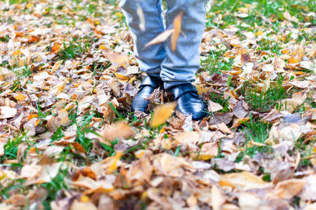 a man in black shoes is walking on fallen yellow leaves on green grass.