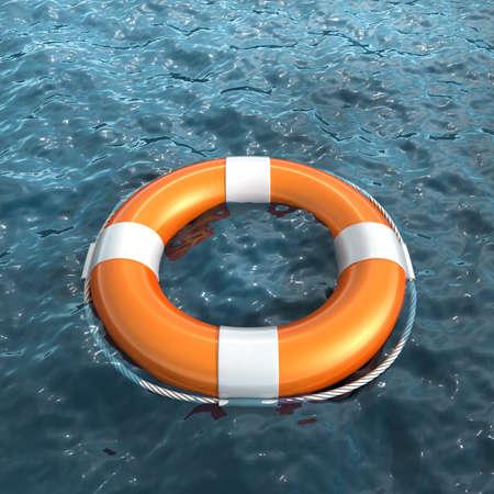 life buoy: Realistic lifebuoy on water Stock Photo