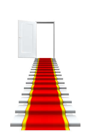 welcome door: Red carpet on white stair