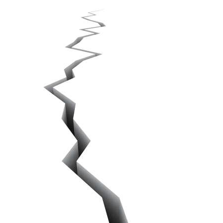 spiraglio: Frattura prospettiva 3D isolato su bianco (rendering 3d) Archivio Fotografico