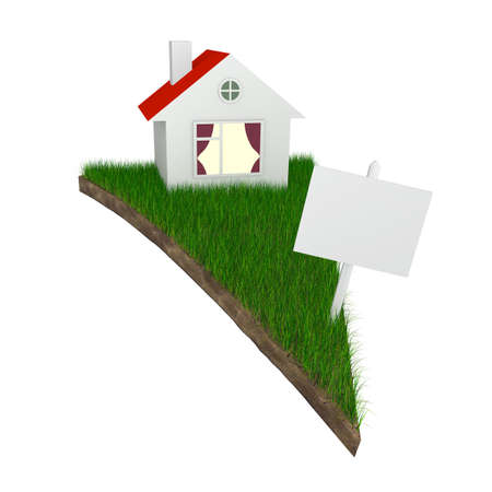 accomodation: House and slae sign on pizza shaped piece of land with grass isolated on white (with work path)